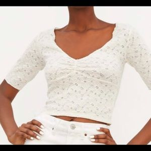 Zara white large lace top NWT short sleeve NWT